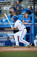 Dunedin Blue Jays right fielder Derrick Loveless (21) follows through on a swing during a game against the Clearwater Threshers on April 8, 2017 at Florida Auto Exchange Stadium in Dunedin, Florida.  Dunedin defeated Clearwater 12-6.  (Mike Janes/Four Seam Images)