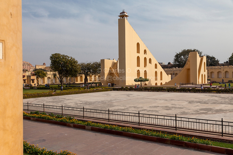 Jaipur, Rajasthan, India.  Jantar Mantar, an 18th-century Site for Astronomical Observations, now a World Heritage Site.