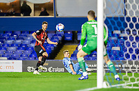 2nd October 2020; St Andrews Stadium, Coventry, West Midlands, England; English Football League Championship Football, Coventry City v AFC Bournemouth; Jack Simpson of AFC Bournemouth  crosses the ball past Jamie Allen of Coventry City toward the goal and Coventry City Goalkeeper Marko Marosi
