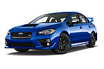 Stock pictures of low aggressive front three quarter view of a 2017 Subaru WRX STI Sport Premium 4 Door Sedan