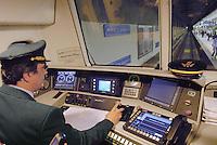 - Milan suburban railways, driving place on a commuter train....- Passante Ferroviario di Milano, posto di guida di un treno regionale