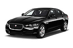 2018 Jaguar XE Prestige 4 Door Sedan angular front stock photos of front three quarter view