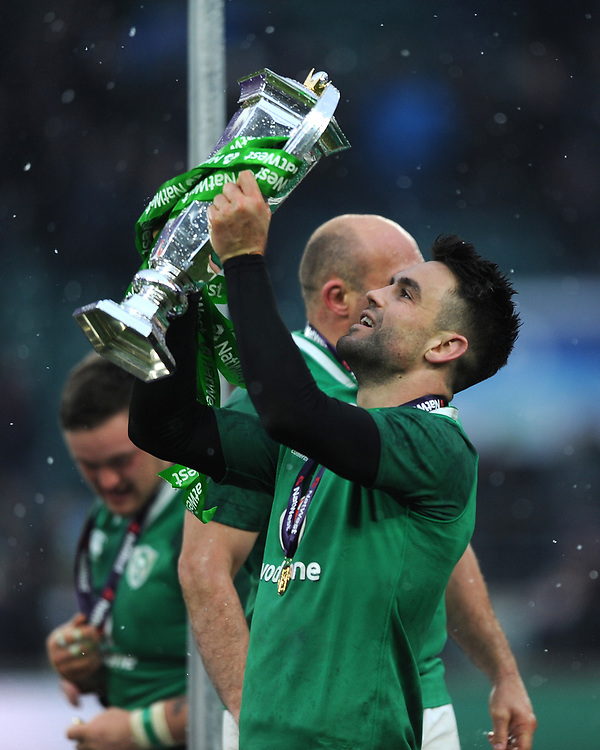Conor Murray of Ireland celebrates winning the Triple Crown and Grand Slam at the conclusion of the NatWest 6 Nations match between England and Ireland at Twickenham Stadium on Saturday 17th March 2018 (Photo by Rob Munro/Stewart Communications)