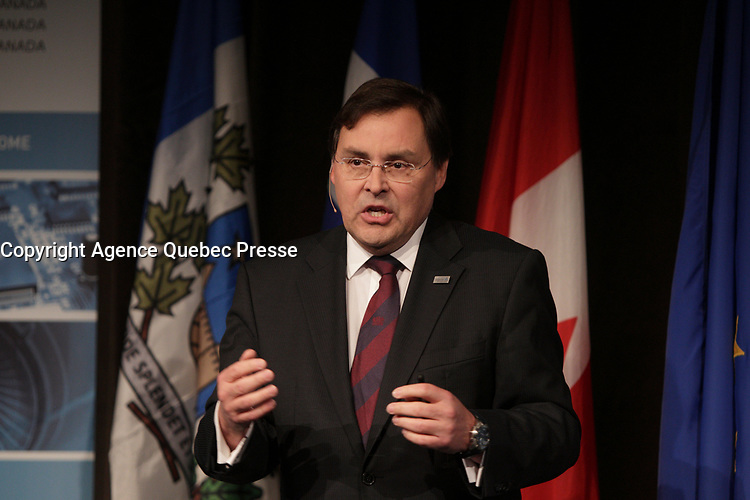 May 28, 2013 File Photo - Guy Breton,Rector, University of Montreal speak at the Italian Board of Trade  <br /> <br /> <br /> PHOTO :  Agence Quebec Presse