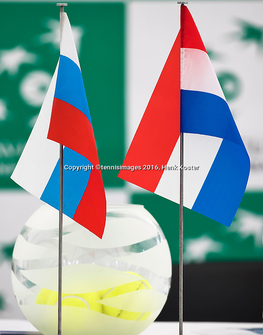 Moscow, Russia, 14 th July, 2016, Tennis,  Davis Cup Russia-Netherlands, Start of the draw <br /> Photo: Henk Koster/tennisimages.com