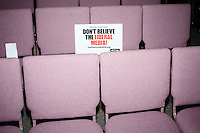 """A sign reading """"Don't Believe the Liberal Media"""" lays on a chair after Texas senator and Republican presidential candidate Ted Cruz spoke at a town hall at Crossing Life Church in Windham, New Hampshire, on Tues. Feb. 2, 2016. The day before, Cruz won the Iowa caucus."""