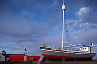 "Tuktoyaktuk, NWT, Northwest Territories, Artic Canada - ""Our Lady of Lourdes"", a Historic Catholic Mission Schooner Boat on Drydock Display"