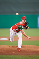 "Palm Beach Cardinals starting pitcher Jake Woodford (33) delivers a warmup pitch during a game against the Charlotte Stone Crabs on July 22, 2017 at Roger Dean Stadium in Palm Beach, Florida.  The Cardinals wore special ""Ugly Sweater"" jerseys for Christmas in July.  Charlotte defeated Palm Beach 5-2.  (Mike Janes/Four Seam Images)"