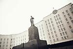 A giant Lenine statue in the center of Moguilev, Belarus, february 2016.Une statue de Lénine dans le centre de Moguilev, biélorussie, février 2016.