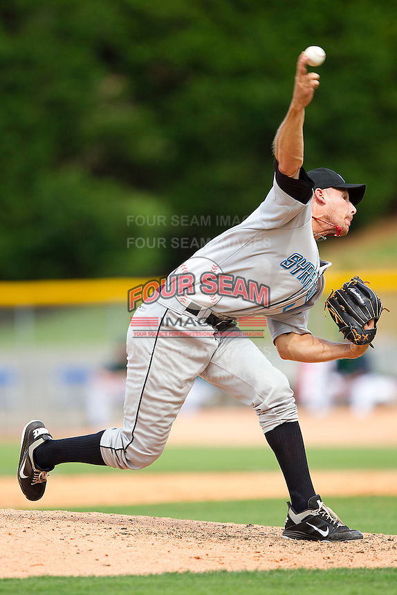 Relief pitcher Ryan Tatusko #40 of the Syracuse Chiefs delivers a pitch to the plate against the Charlotte Knights at Knights Stadium on June 19, 2011 in Fort Mill, South Carolina.  The Knights defeated the Chiefs 10-9.    (Brian Westerholt / Four Seam Images)