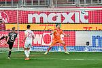 Janni Serra (#23, Holstein Kiel) Kopfballtor zum 1:0. Tim Handwerker (#6, 1. FC Nürnberg) und Christian Mathenia (#26, 1. FC Nürnberg) chancenlos., , Nürnberg, Deutschland, 27 April, 2021. Max Morlock Stadion, beim Spiel in der 2. Bundesliga, 1. FC Nürnberg - Holstein Kiel    <br /> <br /> Foto © PIX-Sportfotos *** Foto ist honorarpflichtig! *** Auf Anfrage in hoeherer Qualitaet/Aufloesung. Belegexemplar erbeten. Veroeffentlichung ausschliesslich fuer journalistisch-publizistische Zwecke. For editorial use only. DFL regulations prohibit any use of photographs as image sequences and/or quasi-video.