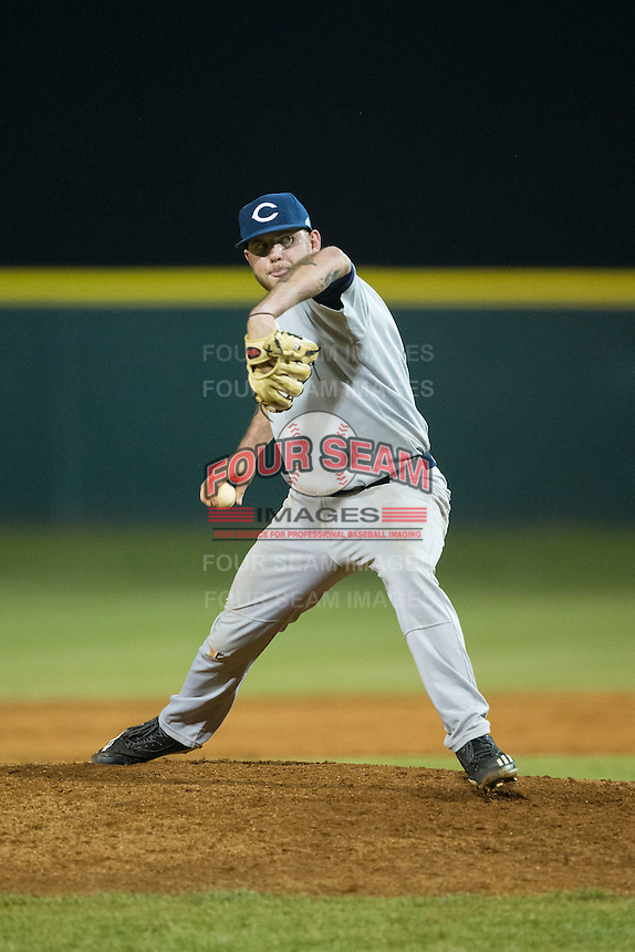 Catawba Indians relief pitcher Nick Coble (34) in action against the Belmont Abbey Crusaders at Abbey Yard on February 7, 2017 in Belmont, North Carolina.  The Crusaders defeated the Indians 12-9.  (Brian Westerholt/Four Seam Images)