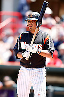 May 31, 2009:  First Baseman Max Leon of the Erie Seawolves at bat during a game at Jerry Uht Park in Erie, NY.  The Seawolves are the Eastern League Double-A affiliate of the Detroit Tigers.  Photo by:  Mike Janes/Four Seam Images