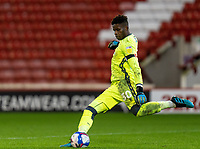 21st November 2020, Oakwell Stadium, Barnsley, Yorkshire, England; English Football League Championship Football, Barnsley FC versus Nottingham Forest; Brice Samba of Nottingham Forrest takes a long goal kick