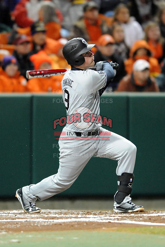 South Carolina Gamecocks shortstop Joey Pankake #9 swings at a pitch during a game against the Clemson Tigers at Doug Kingsmore Stadium on March 1, 2013 in Clemson, South Carolina. The Gamecocks won 6-0.(Tony Farlow/Four Seam Images).
