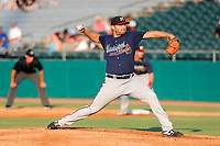 Mississippi Braves pitcher Matt Withrow (40) delivers a pitch to the plate against the Tennessee Smokies at Smokies Stadium on July 15, 2021, in Kodak, Tennessee. (Danny Parker/Four Seam Images)