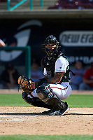 Lake Elsinore Storm catcher Luis Campusano (4) during a California League game against the Inland Empire 66ers on April 14, 2019 at The Diamond in Lake Elsinore, California. Lake Elsinore defeated Inland Empire 5-3. (Zachary Lucy/Four Seam Images)