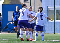 Mariam Abdulai Toloba (19) of Anderlecht pictured celebrating with teammates after scoring a goal during a female soccer game between Club Brugge Dames YLA and RSC Anderlecht on the fourth matchday in Play-Off 1 of the 2020 - 2021 season of Belgian Scooore Womens Super League , saturday 1st May 2021  in Brugge , Belgium . PHOTO SPORTPIX.BE | SPP | DAVID CATRY