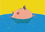 Illustrative image of sad businessman sitting on piggybank in sea representing loss of savings