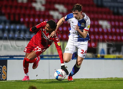 3rd November 2020; Ewood Park, Blackburn, Lancashire, England; English Football League Championship Football, Blackburn Rovers versus Middlesbrough; Joseph Rankin-Costello of Blackburn Rovers competes for the ball with Djed Spence of Middlesbrough