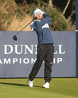 1st October 2021; Kingsbarns Golf Links, Fife, Scotland; European Tour, Alfred Dunhill Links Championship, Second round; Tyrrell Hatton of England tees off on the twelfth hole at Kingsbarns Golf Links