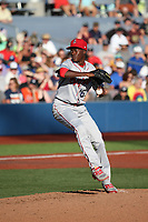 Reiver Sanmartin (16) of the Spokane Indians pitches against the Hillsboro Hops at Ron Tonkin Field on July 22, 2017 in Hillsboro, Oregon. Spokane defeated Hillsboro, 11-4. (Larry Goren/Four Seam Images)