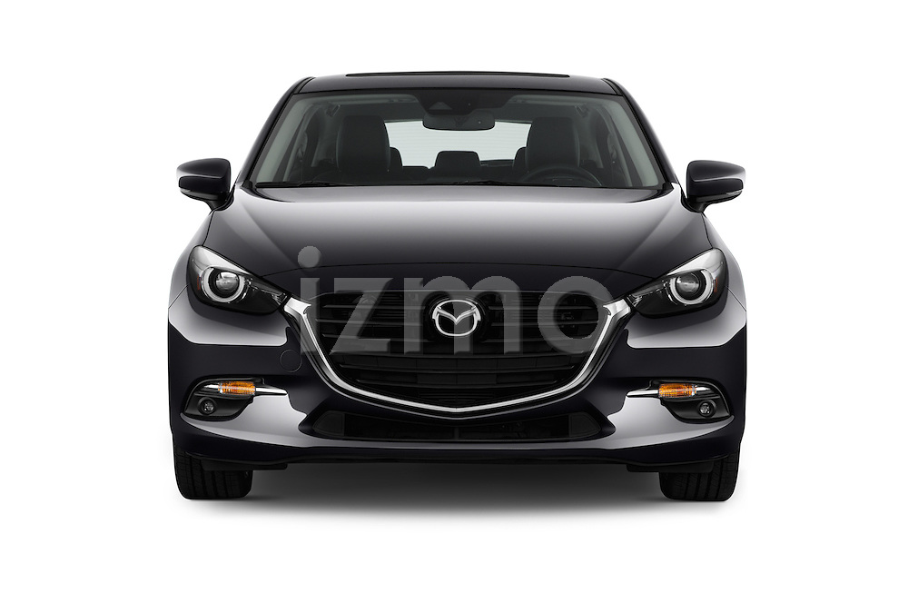Car photography straight front view of a 2018 Mazda Mazda3 Grand-Touring 5 Door Hatchback Front View