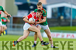 David Roche, Mid Kerry in action against Peter Crowley, Mid Kerry during the Kerry County Senior Football Championship Final match between East Kerry and Mid Kerry at Austin Stack Park in Tralee on Saturday night.