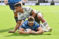 14th March 2021; Eden Park, Auckland, New Zealand;  Kurt Eklund scores a try, Blues v Highlanders, Super Rugby Aotearoa. Eden Park, Auckland. New Zealand. Sunday 14 March 2021.