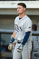 Thomas Milone (21) of the Princeton Rays prior to the game against the Burlington Royals at Burlington Athletic Park on July 11, 2014 in Burlington, North Carolina.  The Rays defeated the Royals 5-3.  (Brian Westerholt/Four Seam Images)