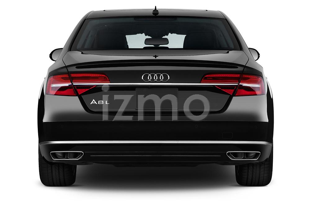 Straight rear view of 2017 Audi A8 3.0T LWB quattro tiptronic 4 Door Sedan stock images