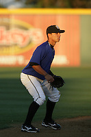 Darwin Perez of the Rancho Cucamonga Quakes during game against the Inland Empire 66'ers at The Epicenter in Rancho Cucamonga,California on August 7, 2010. Photo by Larry Goren/Four Seam Images