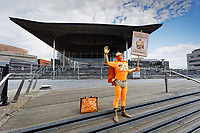 Pictured: Captain Beany outside the Senedd in Cardiff Bay, Wales, UK.<br /> Re: Cardiff West independent candidate, Captain Beany where the current elected AM is First Minister for Wales Mark Drakeford, has been canvassing in Cardiff, Wales, UK.<br /> If elected, my first priority shall be renaming the Wales Parliament to that of 'Superhero Space Centre Of Excellence' and I shall dismiss all the existing serving MSs and replace them all with our League of Superheroes' to take up various positions in relation to their superhero powers within the next five years and to advocate an annual 'National Superhero Day' on behalf of the nation at the Principality Stadium in Cardiff for a national registered charity.