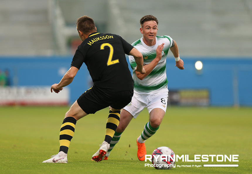 Ronan Finn of Shamrock Rovers in action against Haukur Hauksson of AIK during the UEFA Europa League First Qualifying Round First Leg between Shamrock Rovers and AIK on Thursday 12th July 2018 at Tallaght Stadium, Dublin. Photo By Michael P Ryan