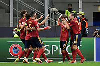 Ferran Torres of Spain celebrates after scoring the goal of 0-2 during the Uefa Nations League semi-final football match between Italy and Spain at San Siro stadium in Milano (Italy), October 6th, 2021. Photo Andrea Staccioli / Insidefoto