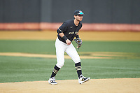 Wake Forest Demon Deacons shortstop Patrick Frick (5) on defense against the Notre Dame Fighting Irish at David F. Couch Ballpark on March 10, 2019 in  Winston-Salem, North Carolina. The Fighting Irish defeated the Demon Deacons 8-7 in 10 innings in game two of a double-header. (Brian Westerholt/Four Seam Images)