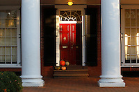 Fall pumpkins on the steps of a pavilion on the lawn at University of Virginia in Charlottesville, Va. Photo/Andrew Shurtleff