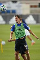 SAN JOSE, CA - OCTOBER 03: Carlos Fierro #21 of the San Jose Earthquakes before a game between Los Angeles Galaxy and San Jose Earthquakes at Earthquakes Stadium on October 03, 2020 in San Jose, California.
