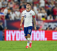 NASHVILLE, TN - SEPTEMBER 5: Christian Pulisic #10 of the United States walks on the field during a game between Canada and USMNT at Nissan Stadium on September 5, 2021 in Nashville, Tennessee.