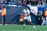 FOXBOROUGH, MA - MARCH 7: Johan Kappelhof #4 of Chicago Fire controls the ball during a game between Chicago Fire and New England Revolution at Gillette Stadium on March 7, 2020 in Foxborough, Massachusetts.