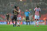 Wayne Routledge of Swansea City shakes Joe Allen of Stoke City hand at full time during the Sky Bet Championship match between Stoke City and Swansea City at the Bet 365 Stadium in Stoke on Trent, England, UK. Tuesday 18 September 2018