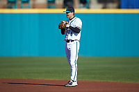 Coastal Carolina Chanticleers second baseman Brian Port (5) on defense against the Illinois Fighting Illini at Springs Brooks Stadium on February 22, 2020 in Conway, South Carolina. The Fighting Illini defeated the Chanticleers 5-2. (Brian Westerholt/Four Seam Images)