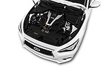 Car Stock 2018 Infiniti Q50 LUXE 4 Door Sedan Engine  high angle detail view