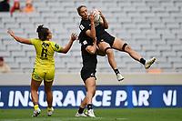22nd May 2021; Eden Park, Auckland New Zealand;  Sarah Hirini gathers possession. Black Ferns Womens Sevens versus Australia Women, Trans-Tasman Sevens at Eden Park, Auckland.