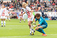 Houston, TX - Sunday April 08, 2018: Allie Long, Cecilia Santiago during an International Friendly soccer match between the USWNT and Mexico at BBVA Compass Stadium.
