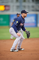New Hampshire Fisher Cats third baseman Gunnar Heidt (6) during a game against the Altoona Curve on May 11, 2017 at Peoples Natural Gas Field in Altoona, Pennsylvania.  Altoona defeated New Hampshire 4-3.  (Mike Janes/Four Seam Images)