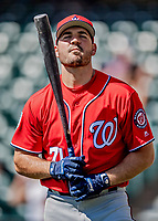 25 February 2019: Washington Nationals infielder Jake Noll awaits his turn in the batting cage prior to a pre-season Spring Training game against the Atlanta Braves at Champion Stadium in the ESPN Wide World of Sports Complex in Kissimmee, Florida. The Braves defeated the Nationals 9-4 in Grapefruit League play in what will be the Braves' last season at the Disney / ESPN Wide World of Sports complex. Mandatory Credit: Ed Wolfstein Photo *** RAW (NEF) Image File Available ***