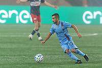 FOXBOROUGH, MA - SEPTEMBER 02: Maximiliano Moralez #10 of New York City FC dribbles at midfield during a game between New York City FC and New England Revolution at Gillette Stadium on September 02, 2020 in Foxborough, Massachusetts.