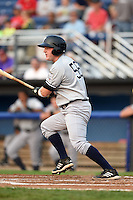 Staten Island Yankees first baseman Connor Spencer (56) at bat during a game against the Batavia Muckdogs on August 7, 2014 at Dwyer Stadium in Batavia, New York.  Staten Island defeated Batavia 2-1.  (Mike Janes/Four Seam Images)