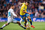 Victor Machin Perez of UD Las Palmas (R) fights for the ball with Daniel Ceballos Fernandez, D Ceballos, of Real Madrid (L) during the La Liga 2017-18 match between Real Madrid and UD Las Palmas at Estadio Santiago Bernabeu on November 05 2017 in Madrid, Spain. Photo by Diego Gonzalez / Power Sport Images